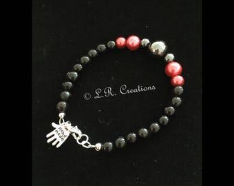 Black/Fushia bead bracelet with single hematite bead