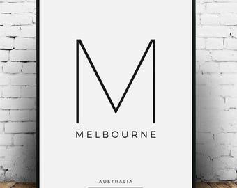 Melbourne Print, Melbourne City Coordinates, Melbourne Poster, Melbourne Printable, Melbourne wall art, Melbourne wall decor, Melbourne gift