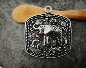 1 PCs, elephant, ethnic Metal silver plate pendant 51 x 45 mm pendant