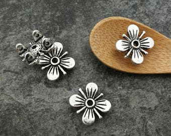 4pcs, flowers, past bead separators cords, big hole, silver, 12 x 5 mm