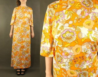 African clothing, african dress, african print dress, orange flowers M tumblr clothing instagram 70s 1970s flower power