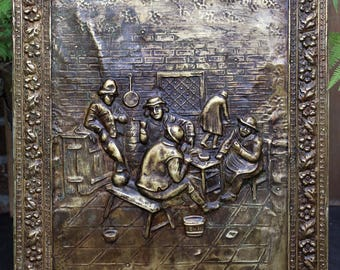 Vintage Brass WALL PLAQUE on Wooden Panel, Tavern Scene 17th Century after Flemish Painter, Mid Century Brass Décor, Brass Wall Hanging