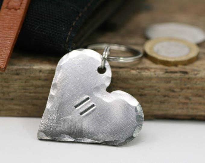 Steel Heart Keychain with Personalised Text