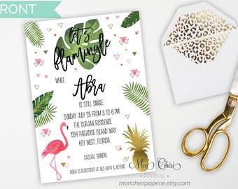 Let's Flamingle Bridal Shower Invitation / Flamingo and Pineapple Bridal Shower / Bachelorette Party Invitations / Tropical Theme Bridal