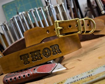 Personalized Leather Dog Collar ( tooled leather dog collar ~ custom dog collar ~ Western dog collar ~ 1950s name on belt ) The Diamond Dogs