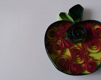Red Quilled Apple. Card topper/embellishment/thank you teacher gift