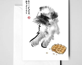 Brussel Griffon Card, International Doggy Sumi-e Painting Illustration Print Asian Belgium Zen Art Waffle Ink Drawing Dog Lover