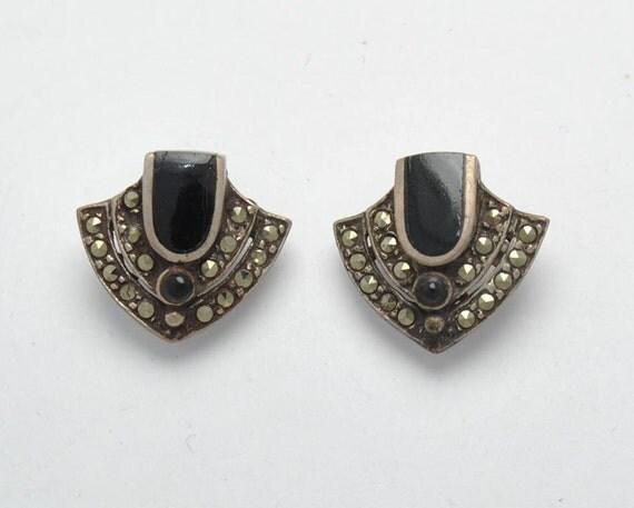 Boucles d'oreilles vintage en marcassite, onyx et argent