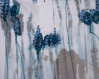 Fibre art/textile art/mixed media -Lavender in blue- Free shipping to Canada and USA!