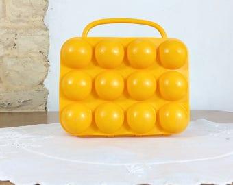 French Yellow Plastic Egg Box. Retro 70's Vintage French Egg Storage