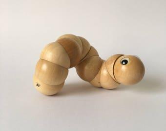 NAEF Wooden Toys - Rare natural wood Juba Caterpillar by Xavier De Clippeleir in original Box - Perfect Gift