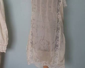 Vintage combination camiknickers or teddy, 1920s, pale gold cream rayon camisole and bloomers prop piece collectors lingerie wounded bird
