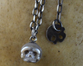 Hand Carved Grey Pearl Skull Necklace - Pearl Necklace - Skull Jewelry - Gift for Him - Gift For Her - Birthday - Anniversary - Mother's Day