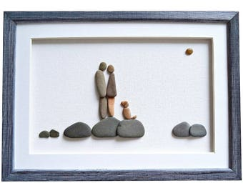 Pebble art couple and dog, Dog lovers gift, Unique gift for couple, Romantic anniversary or birthday gift for her / him, Wedding gift