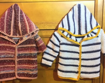 Baby Crochet Letterman Hoodie (3 months)