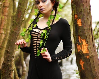 Black Weaved Full Bodycon Catsuit - Hippie Boho Bohemian Goa Tapestry Festival Hippy Gypsy Yoga Pagan Witch Pixie - Size UK MEDIUM 8 10 12