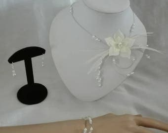ivory or white silk flower earrings set bridal wedding jewelry necklace bracelet set / transparent feather evening parties