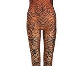 TIGER BROWN UNITARD catsuit jumpsuit romper top womens ladies top tumblr hipster grunge retro vtg indie boho festival animal print leopard
