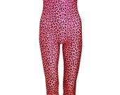 LEOPARD PINK UNITARD catsuit jumpsuit romper top womens ladies top tumblr hipster grunge retro vtg indie boho festival animal print leopard
