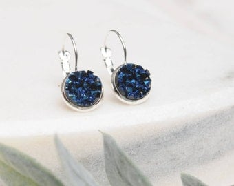 Saphire Druzy Earrings, Blue Druzy Earrings, Blue Jewelry, Saphire, Drop Earrings, Dark Blue Jewlery,