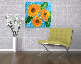 Vibrant Sunflower Painting - One of a Kind 24 x 24 Impasto Textured Painting - Sunflower Art - Canvas Wall Hanging Acrylic Painting