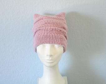 Gift for girl birthday gift for her Pink pussy hat Knit pussy hat Pink cat hat Cat ear hat Kitty cat hat Pink kitty beanie Knit cat hat