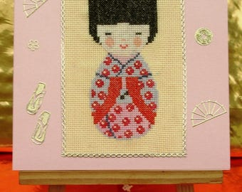 Card embroidered Kokeshi doll, Japanese doll