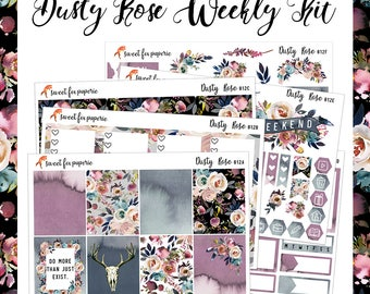 Dusty Rose || Weekly Sticker Kit || 012
