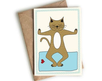 Cat - Yoga - Greeting Card - Squatting Pose - Blank Card - Illustrated & Hand-drawn Stationery - Made in UK Greeting Card