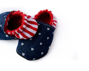 4th of July Crib Shoes - Soft Sole Baby Shoe -  American Moccs -  Baby Slippers - Baby Booties - Baby Shower Gift - Free 2 Love Collection