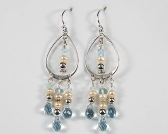Pearl and Blue Topaz Chandelier Earrings