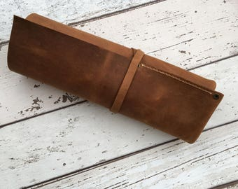 Leather Pencil Roll up Case Leather Watch Roll Leather Roll Custom Pencil Roll Leather Tool Roll up Pencil Case Personalized Artist Roll