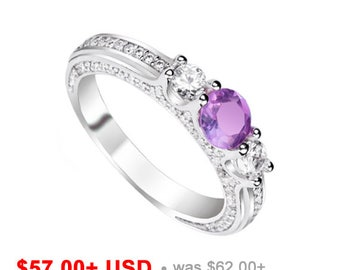 Amethyst Wedding Ring Amethyst Engagement Ring Amethyst Ring Amethyst Promise Ring for Her Purple Engagement Ring February Birthstone Ring