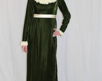Vintage 70s Green VELVET Satin High Neck Lace VICTORIAN Bow Retro Maxi Dress M
