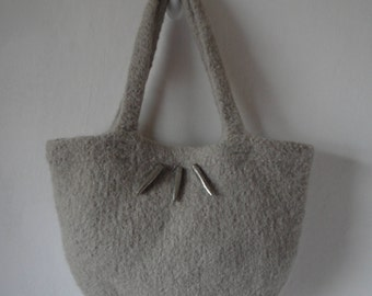beige felt handbag, knit and felt purse, stone colour bag, wool and alpaca bag, fun funky bag, casual bag, decorated purse, metal trim bag