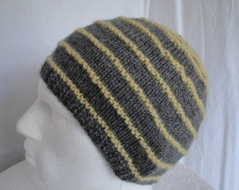 unisex wool cap, woman or man's hat, gray/yellow knit cap, wool knit stripe hat, stripy unisex beanie, gift for him or her, OOAK beanie