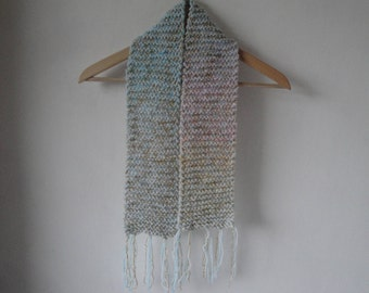 girls sparkly scarf, pastel blue muffler, childs neck-warmer, tassel scarf, blue-gold scarf, chunky knit tippet, girls gift, winter warmer