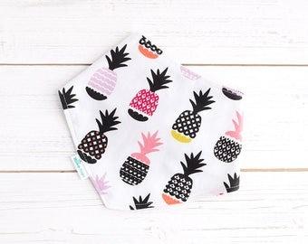 Bib - Pineapple Bib - Summer Bib -  Organic Bandana Bib - Soft Bamboo Bib  - Neckerchief Bib - Baby Girl - Baby Gift - Baby Fashionista