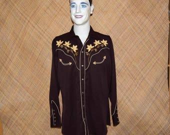 Vintage Men's 'H Bar C Ranchwear' Brown Western Shirt