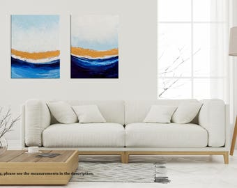 Abstract Seascape Painting, Palette Knife Waves, Beach Ocean painting, Acrylic Landscape, Modern wall art Home decor by Niks Paint Gallery