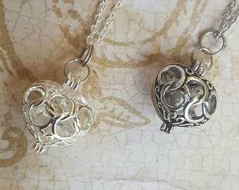 Two (2) Heart Urns with Glass Orb | Keepsake Necklace | Urn Jewelry | Cremation Jewelry | Olympic Style Heart Locket | Fillable Jewelry
