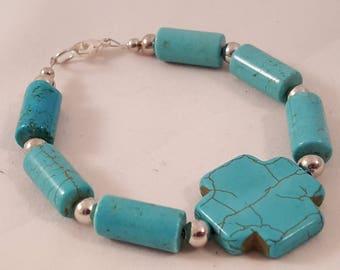 Turquoise Cross Stone Bracelet - Stone Bracelet - Turquoise Bracelet - Turquoise Cross - Cross Bracelet - Turquoise - Stone -Bracelet -Cross