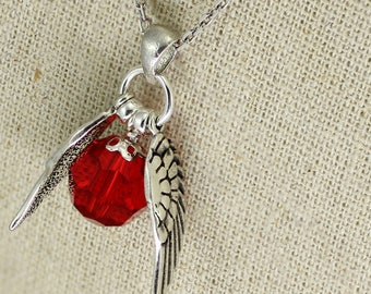 SS036- Birthstone Sterling Silver Quidditch-inspired winged necklace