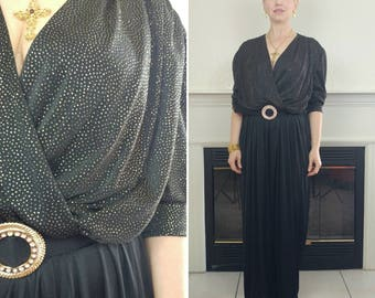 1980s Black and Gold Jumpsuit Size XL