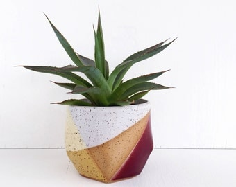 Ceramic Planter in Purple and Yellow / Modern Succulent Pot / Pottery for Succulents, Cacti, House Plants / The Rise Planter / READY TO SHIP