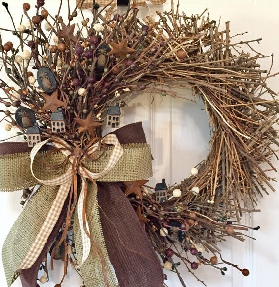 Brown and Beige Sunburst Twig Grapevine Wreath with Country Accents, Pip Berries, Rusty Stars and Rusty Tin Bow; Rustic Primitive Wreath