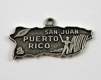 Map Outline of Puerto Rico the Territory of the U.S.A.Sterling Silver Charm or Pendant.