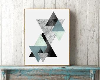 Geometric, Scandinavian, abstract, triangle print in blue, green, gray. Coastal hues, minimalist, marbled, modern, trending, scandi wall art