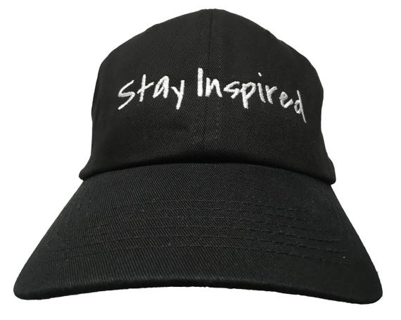 Stay Inspired - Polo Style Ball Cap - Black with White Stitching