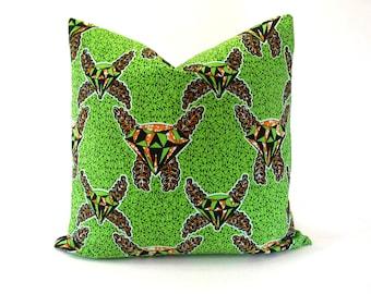 Wax print-African fabric-Ankara fabric-Supreme Holland Wax-cushion cover-pillow,cover-Diamond print-100%cotton-Lime Green-Orange-White